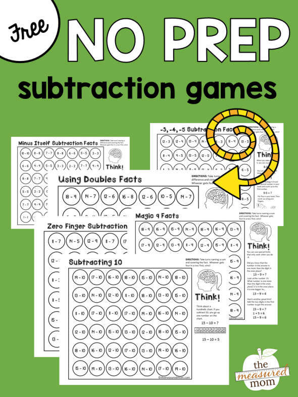 Free math games that teach subtraction strategies - The Measured Mom