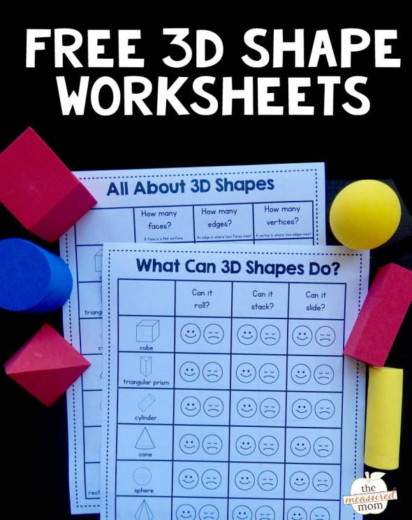 Grab These Free 3d Shape Worksheets The Measured Mom