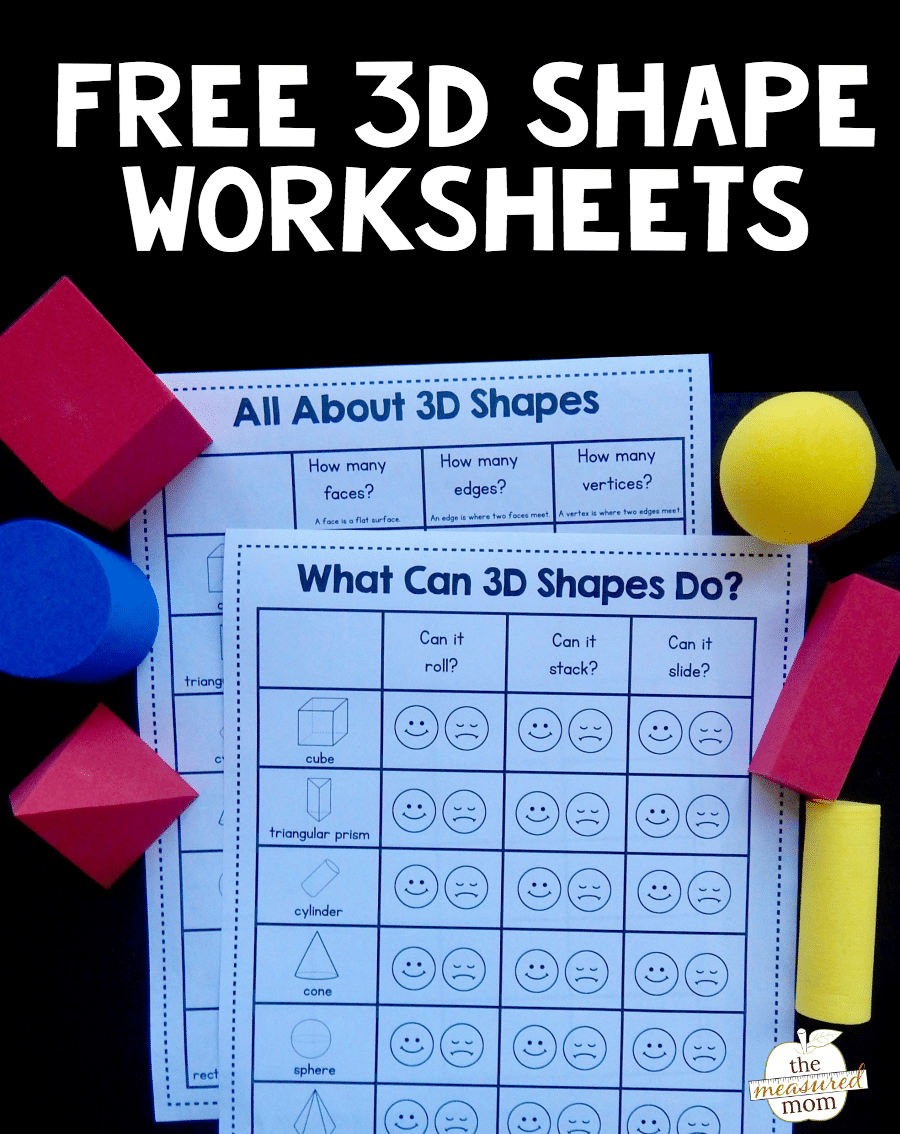 Workbooks solid shapes worksheets : Grab these free 3D shape worksheets! - The Measured Mom