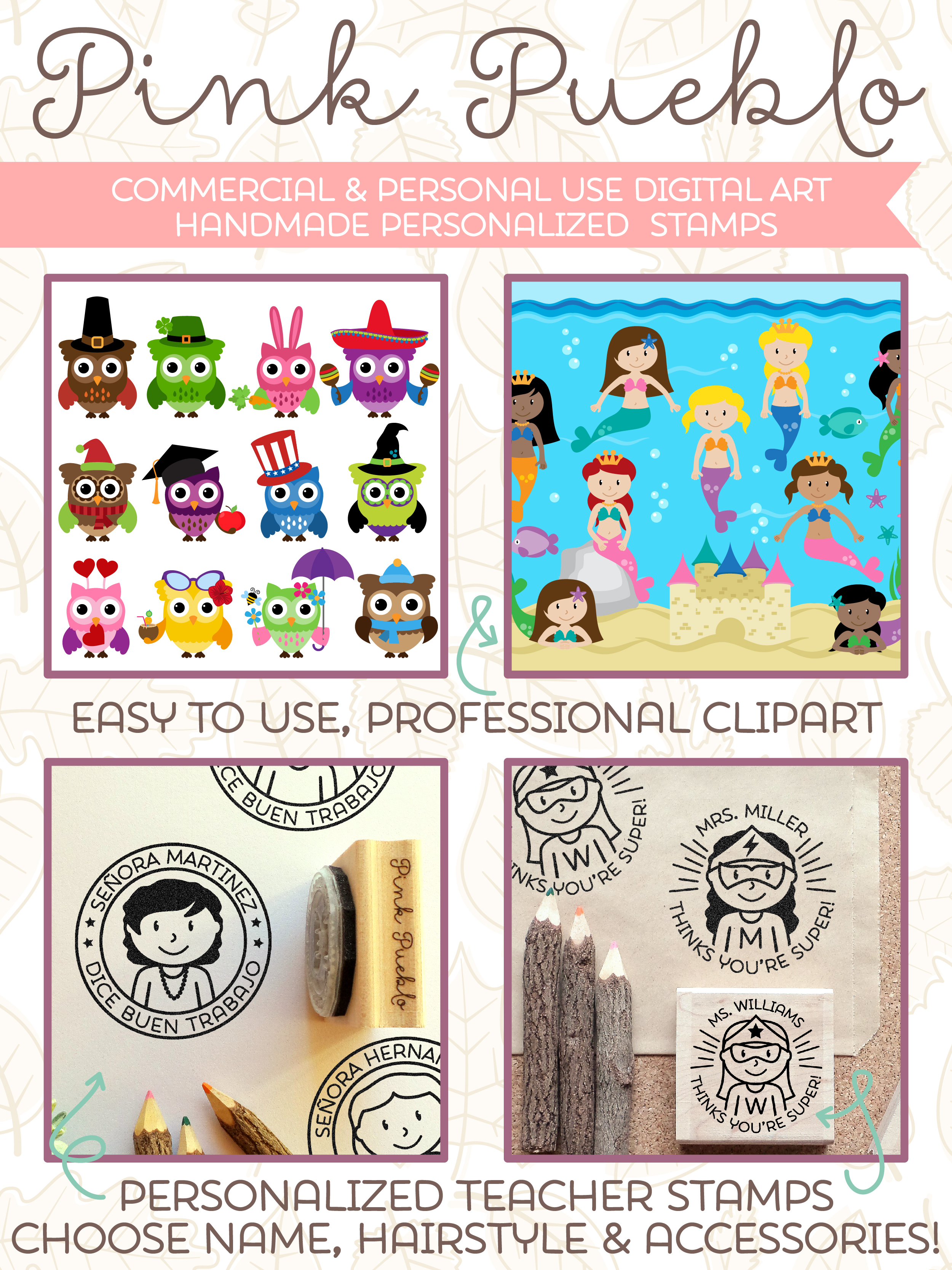 Choose Hair Clothing and Name Personalized Custom Bookplate Rubber Stamp Bookplate Stamp for Kids