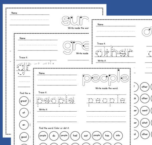 Sight Word Worksheets - The Measured Mom