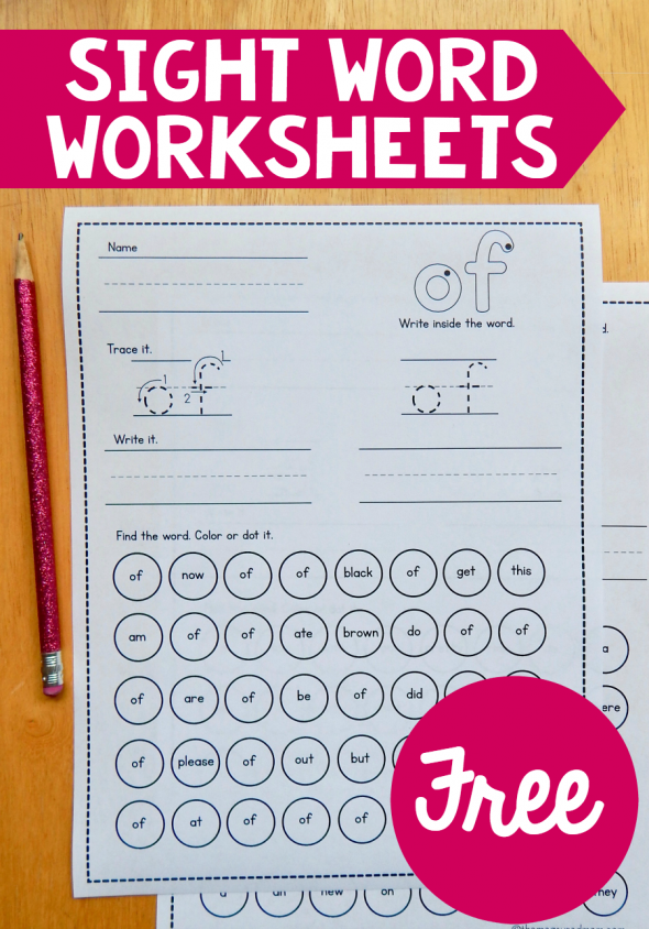 Free sight word worksheets The Measured Mom – Sight Words Worksheets