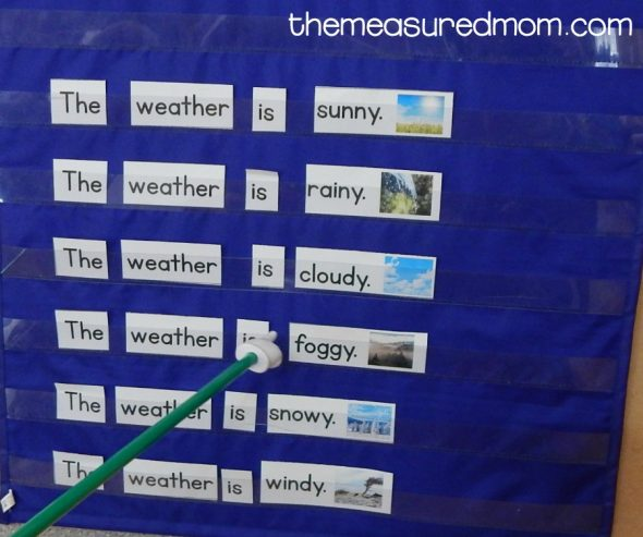 Grab this free weather activity for your young learners. Making pocket chart sentences is so much fun!