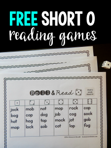 Free games for reading short o words