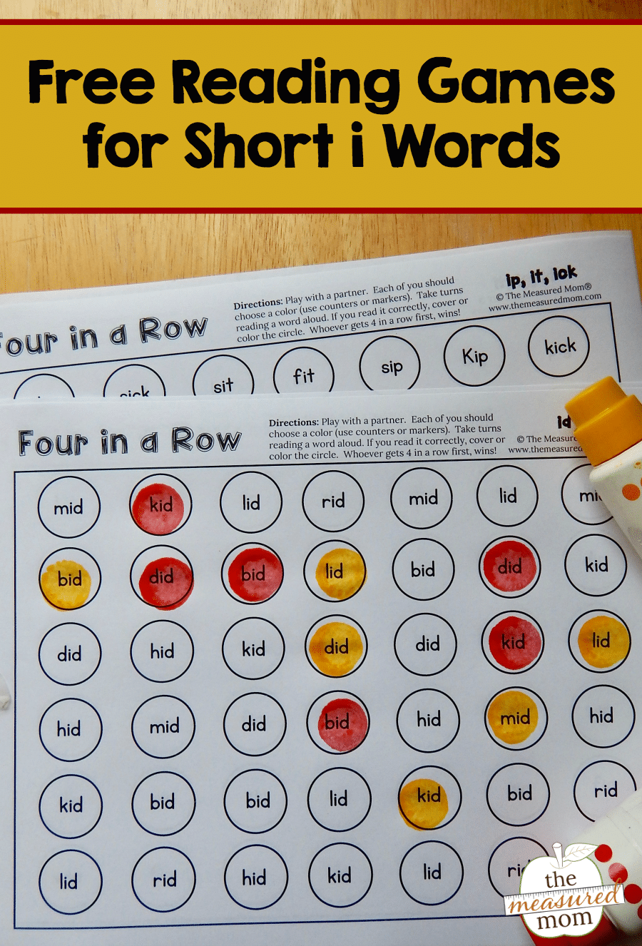 Four-in-a-row games for o-e words - The Measured Mom