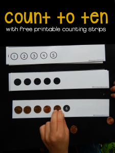 Teach your preschooler to count to 10 with our free counting strips!