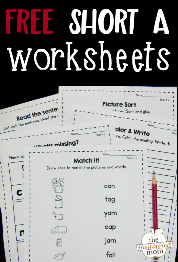 Download this free bundle of nine short a worksheets! Great for review and reinforcement!