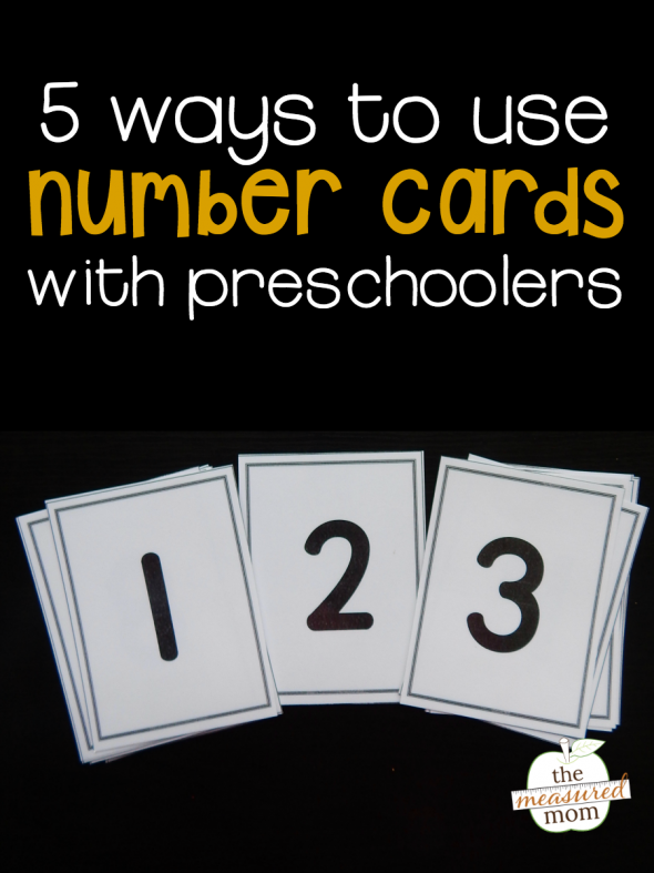 Here are five ways to use number cards with your preschooler. Get free printable cards, too!