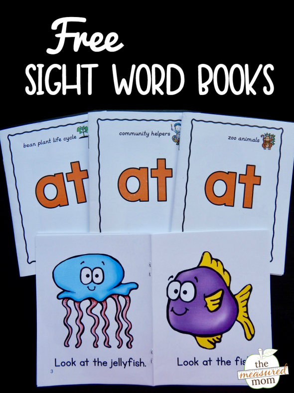 "Print this set of free books to teach the sight word ""at."" Perfect for beginning readers!"