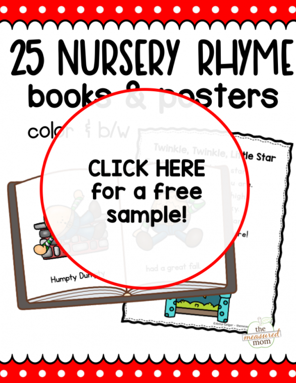 This bundle of printable nursery rhyme books and posters is perfect for new readers!