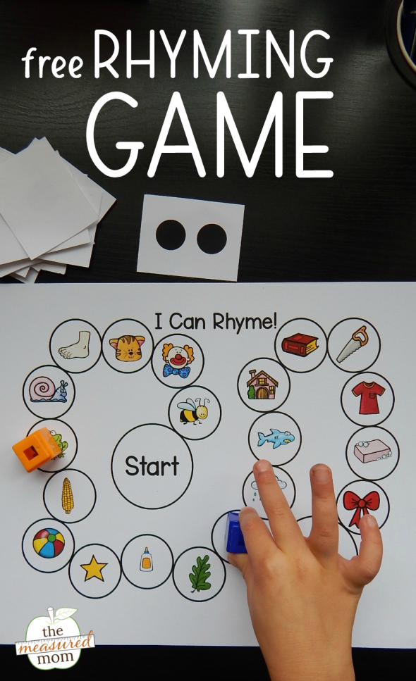 picture of a child playing a rhyming game