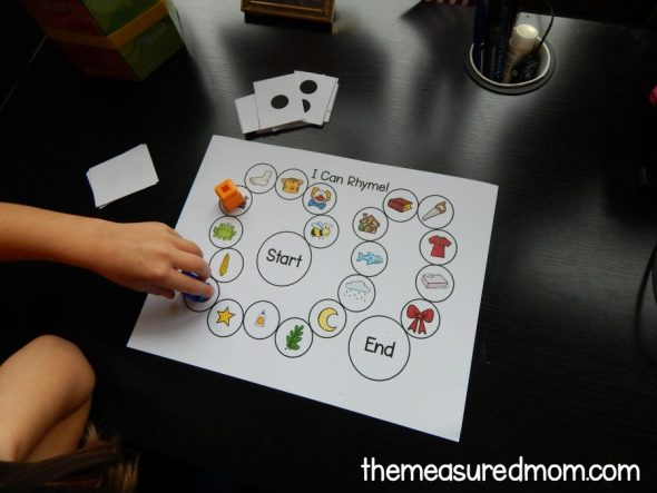 child playing rhyming game