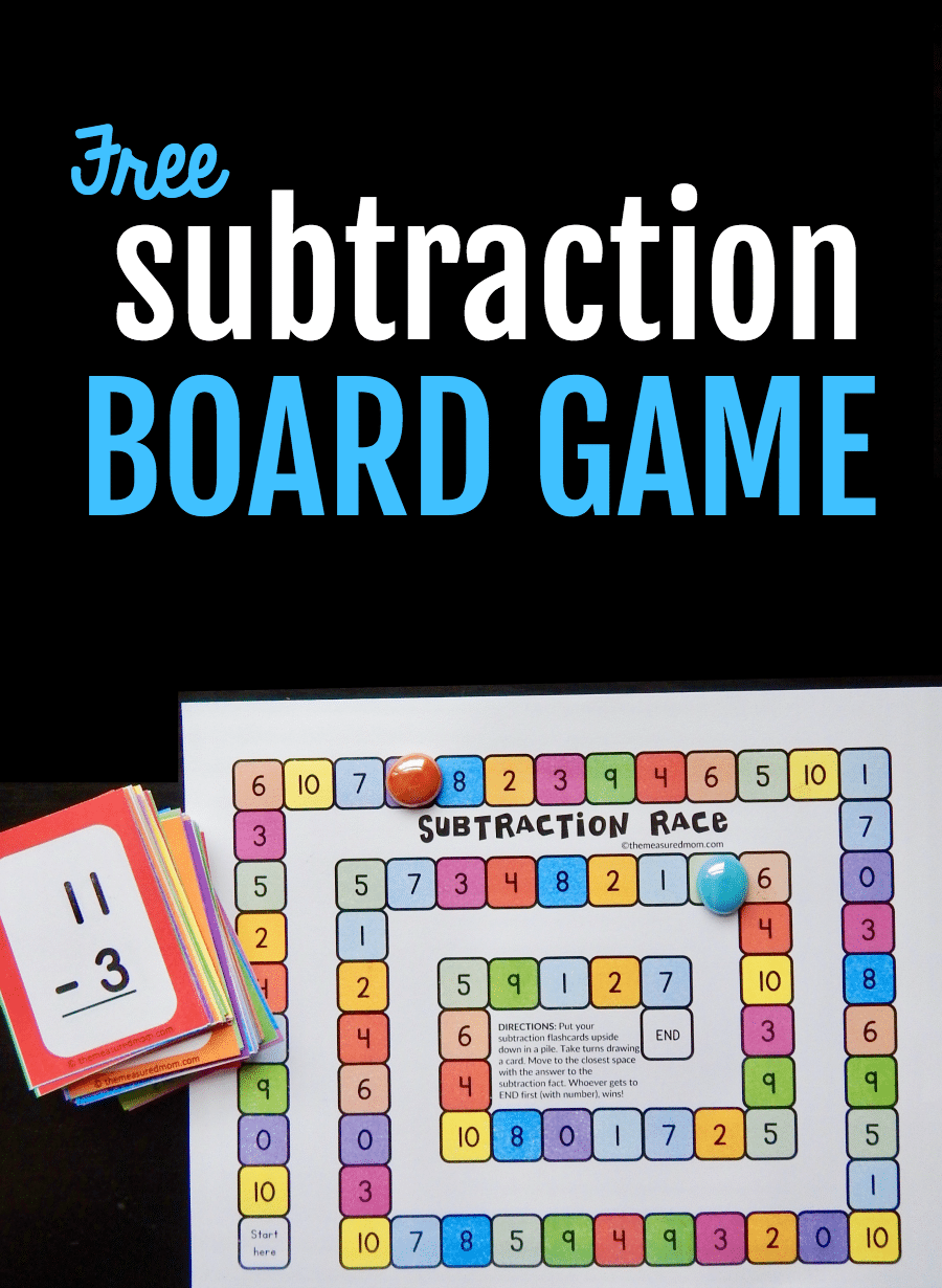 use flash cards to play this free subtraction game