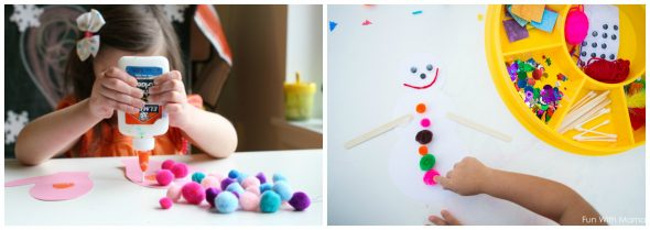 Find ten simple winter crafts for kids in preschool - they're low prep and easy to set up!