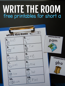 "Free ""write the room"" activity for short a words"