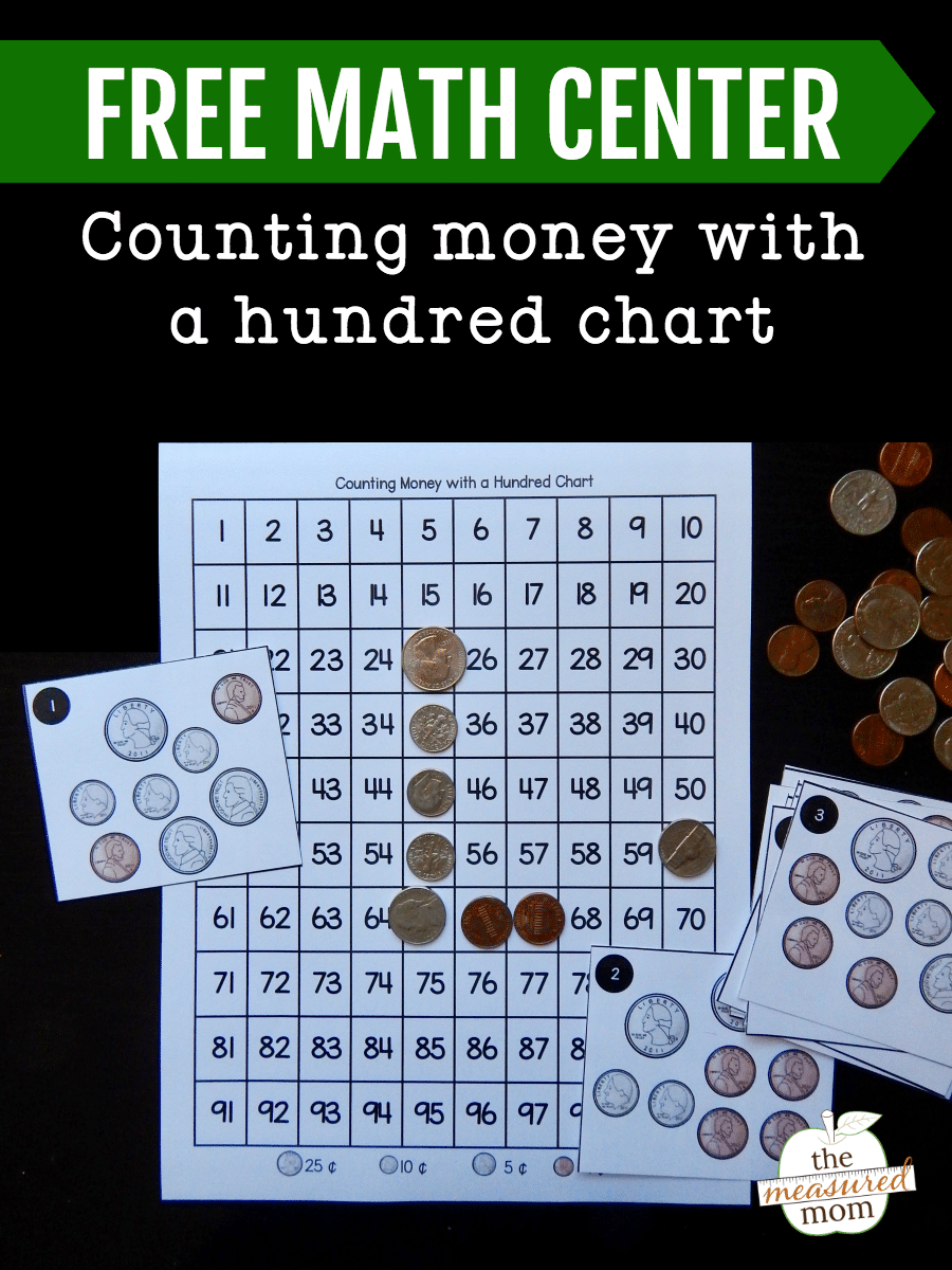 Counting money with a hundred chart (free!) - The Measured Mom
