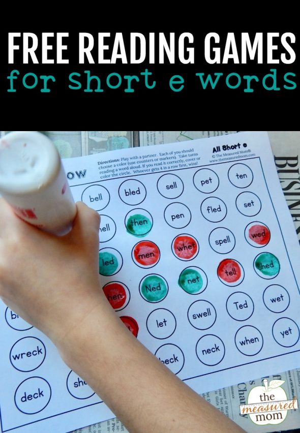 Print these free games for helping your learners master short e words!
