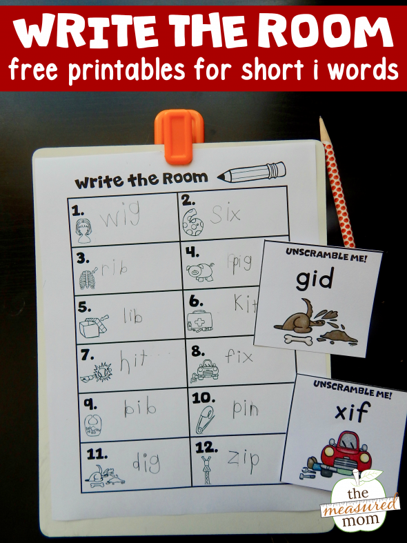 Print this free write the room activity for short i words - in three levels of difficulty!
