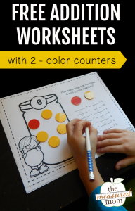Free addition worksheets with 2-color counters