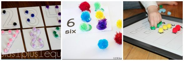 Check out this collection of 11 printable pom pom activities - perfect for building early math and literacy skills!