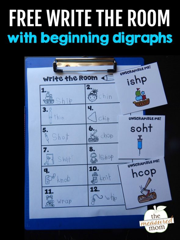 Download this free printable activity - write the room with digraphs! It comes in three levels of difficulty.