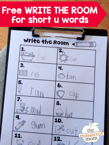 "Free ""read the room"" activity for short u words"