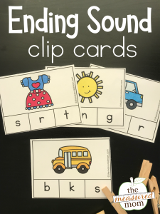 Free clip cards for ending sounds