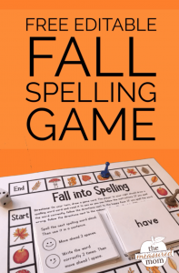 Free editable fall spelling game! (grades 1-5)