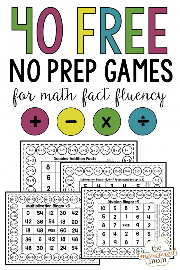 no prep games for math fact fluency