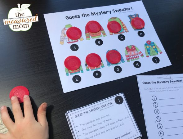 child doing christmas sweater problem solving activity with