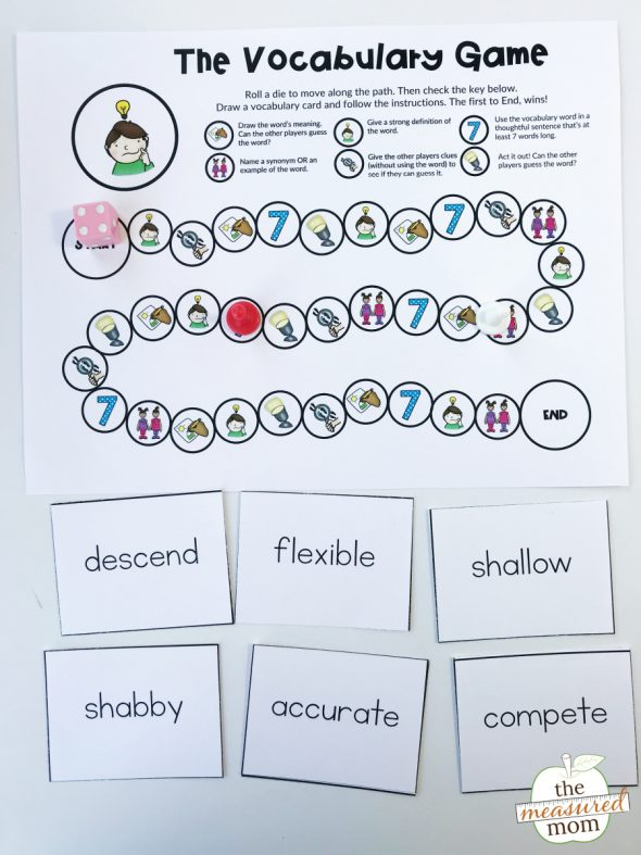 Free printable vocabulary game for grades 3-5 (editable